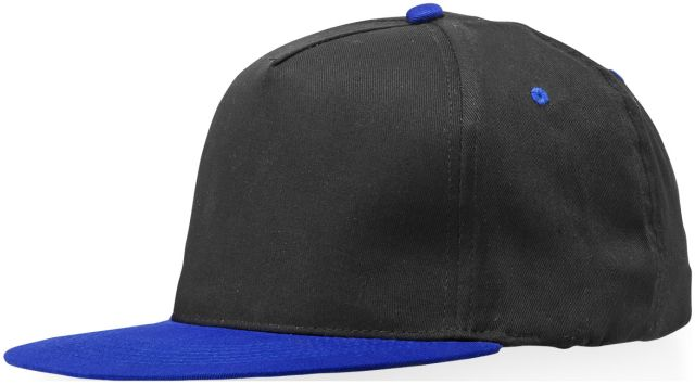 Snapback 5 panel<br> cap. Cotton. black<br>/ blue