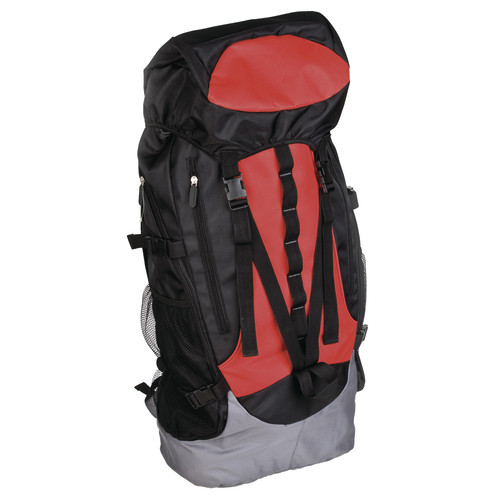 Trekking backpack<br> polyester black<br>with red and gra