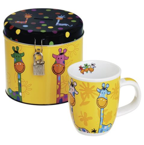 Piggy bank and cup<br>giraffe with Logo