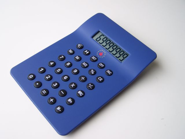 Calculator with S<br> logo Euro Tax 06<br>987 blue